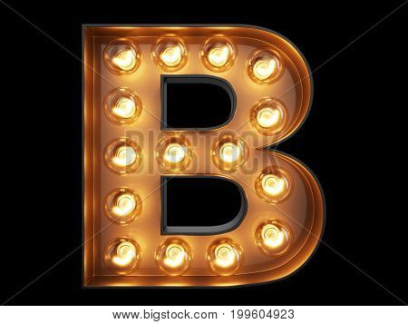 Light Bulb Alphabet Character B Font