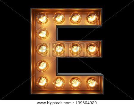 Light Bulb Alphabet Character E Font