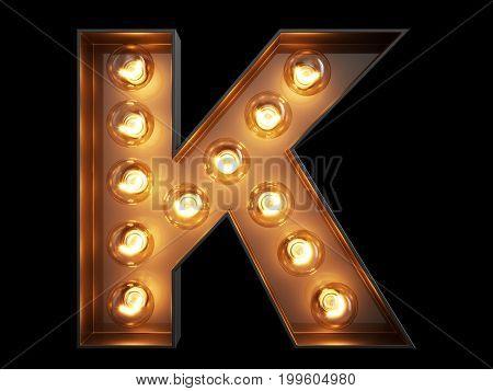 Light Bulb Alphabet Character K Font