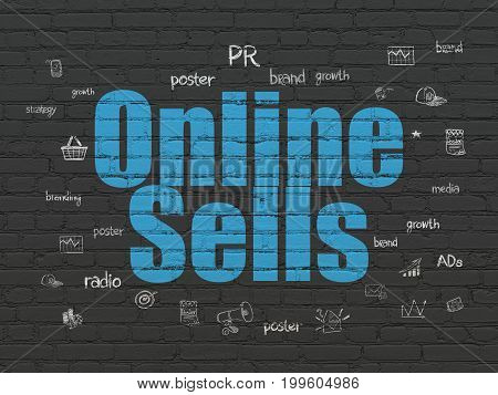 Marketing concept: Painted blue text Online Sells on Black Brick wall background with  Hand Drawn Marketing Icons