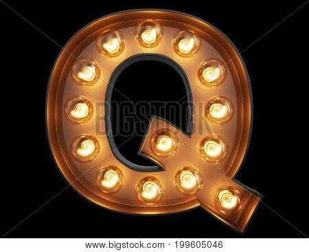 Light Bulb Alphabet Character Q Font