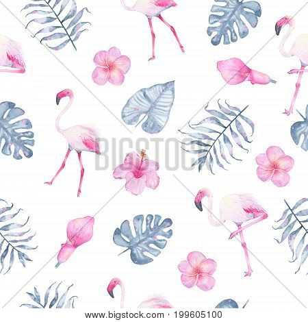 Watercolor tropical seamless pattern hand painted with flamingo pink calla hibiscus frangipani and leaves of indigo palm monstera isolated on white background. Floral illustration. Botanical art
