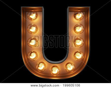 Light Bulb Alphabet Character U Font
