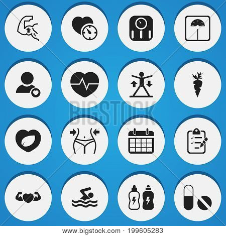 Set Of 16 Editable Lifestyle Icons. Includes Symbols Such As Leaf In Heart, Muscle, Root Vegetable And More