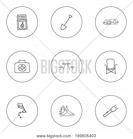 Set Of 9 Editable Camping Doodles. Includes Symbols Such As Picnic, Camper, Flashlight And More