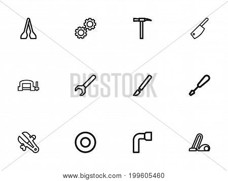 Set Of 12 Editable Tools Outline Icons. Includes Symbols Such As Vice, Spacer, Pickaxes And More