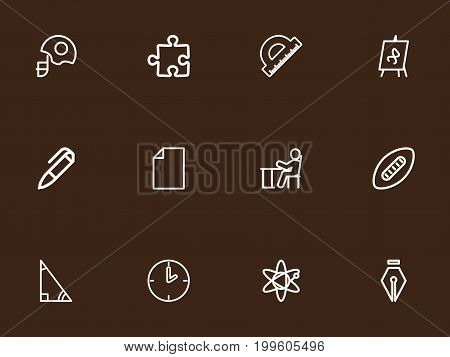 Set Of 12 Editable Education Outline Icons. Includes Symbols Such As Puzzle, Helm, Pen And More