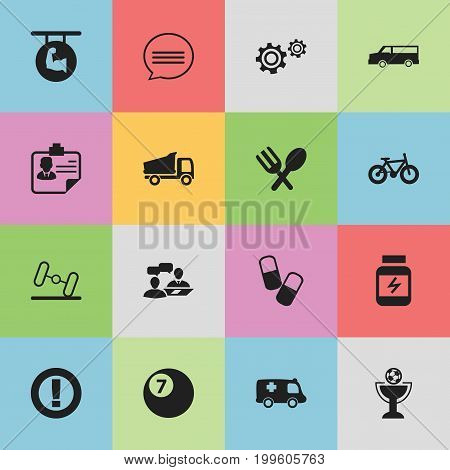 Set Of 16 Editable Complex Icons. Includes Symbols Such As Dialogue, Caution, Emergency And More