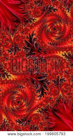 Floral ornament, intricate spirals and leaves. Red fractal background - abstract computer-generated image. For covers, puzzles, web design.