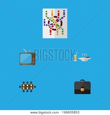 Flat Icon Lifestyle Set Of Television, Router, Lunch And Other Vector Objects