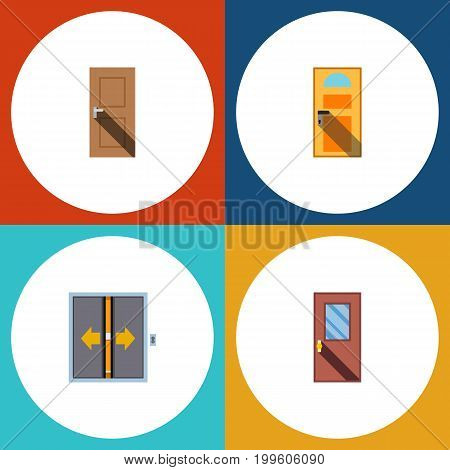 Flat Icon Approach Set Of Entrance, Exit, Door And Other Vector Objects