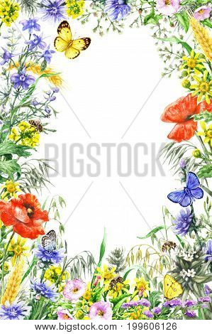 Hand drawn wild flowers and insects. Watercolor vivid rectangle vertical frame with yellow blue red wildflowers flying butterflies and bees. Space for text.