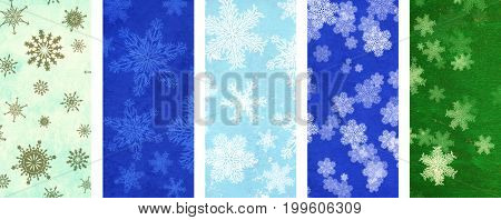 Collection of Christmas banners with old paper texture of green color and snowflakes