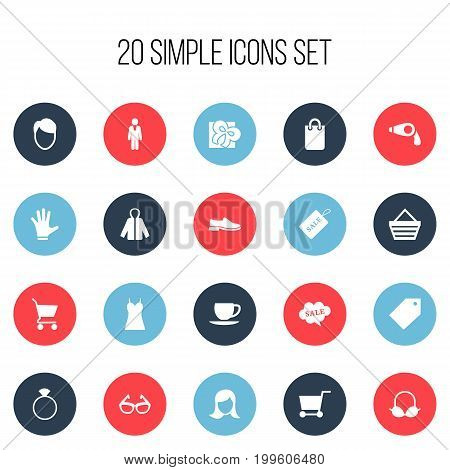 Set Of 20 Editable Business Icons. Includes Symbols Such As Rebate, Purse, Garment And More