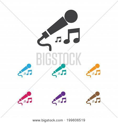 Vector Illustration Of Music Symbol On Microphone Icon