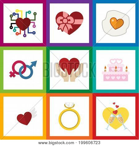 Flat Icon Love Set Of Present, Wings, Sexuality Symbol And Other Vector Objects