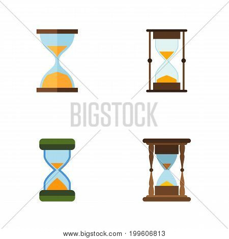 Flat Icon Hourglass Set Of Hourglass, Clock, Measurement And Other Vector Objects