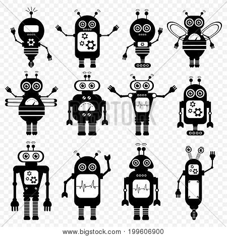 Set of vector robots in cartoon style. Isolated vector robots in transparent background. Black and White Design.