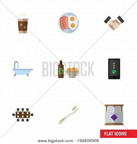 Flat Icon Lifestyle Set Of Tub, Partnership, Cellphone And Other Vector Objects