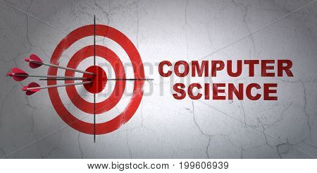 Success Science concept: arrows hitting the center of target, Red Computer Science on wall background, 3D rendering