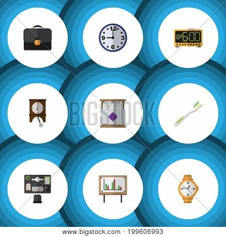 Flat Icon Lifestyle Set Of Electric Alarm, Timer, Clock And Other Vector Objects