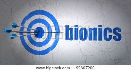 Success Science concept: arrows hitting the center of target, Blue Bionics on wall background, 3D rendering