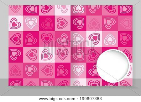 Template cover of a copybook with an trendy design: pink hearts pattern.