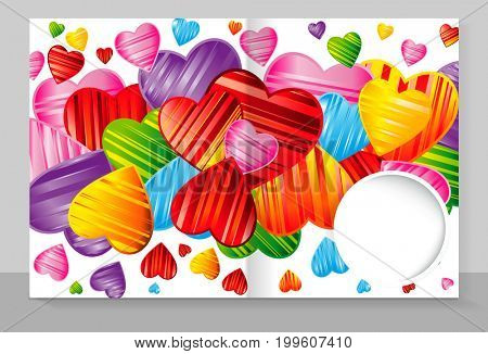 Template cover of a copybook with an trendy design: colorful striped hearts pattern.