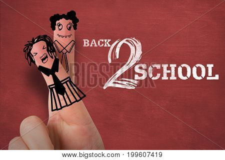 Anthropomorphic smiley faces of students on fingers against back to school text on white background
