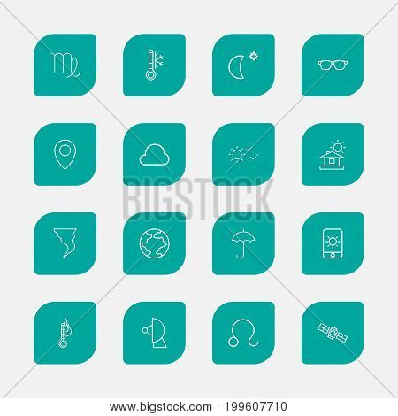 Set Of 16 Editable Air Outline Icons. Includes Symbols Such As Cloud, Gingham, Sun In Display And More