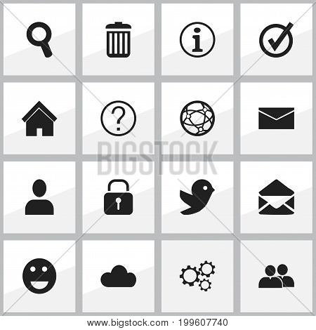 Set Of 16 Editable Internet Icons. Includes Symbols Such As Letter, Quiz, Security And More