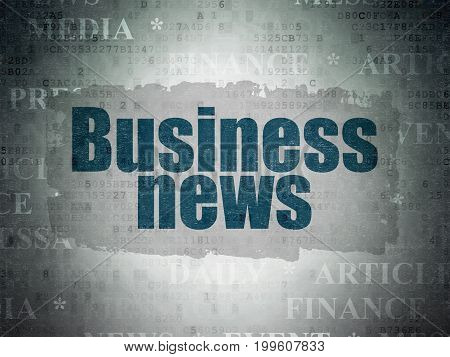News concept: Painted blue text Business News on Digital Data Paper background with   Tag Cloud