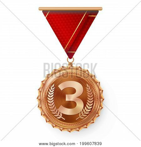 Bronze Medal Vector. Best First Placement. Winner, Champion, Number One. 3rd Place Achievement. Metallic Winner Award. Red Ribbon. Isolated On White Background. Realistic Illustration.