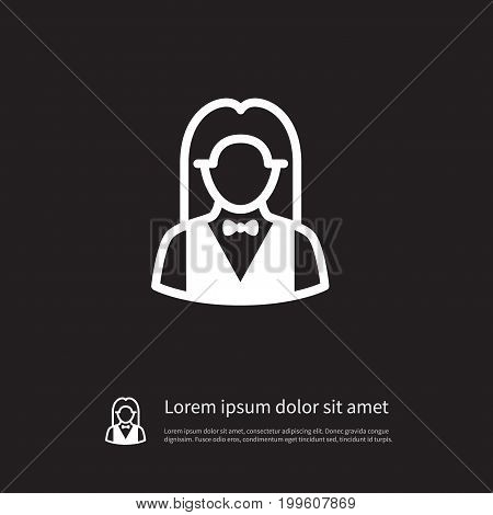 Croupier Vector Element Can Be Used For Croupier, Girl, Banker Design Concept.  Isolated Girl Icon.