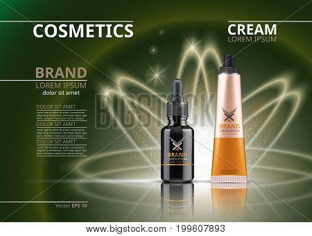 Vector Realistic Cosmetics package. Hydrating Under Eye Gel tube and face serum. Beauty products with logo label design. 3d set collection on sparkling backgrounds