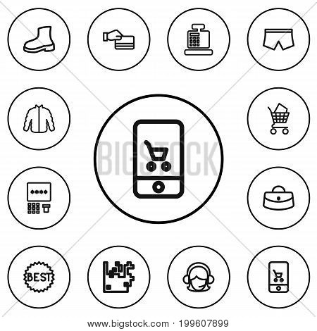 Set Of 12 Editable Trade Outline Icons. Includes Symbols Such As Best Sale, Online Trade, Woman Bag And More
