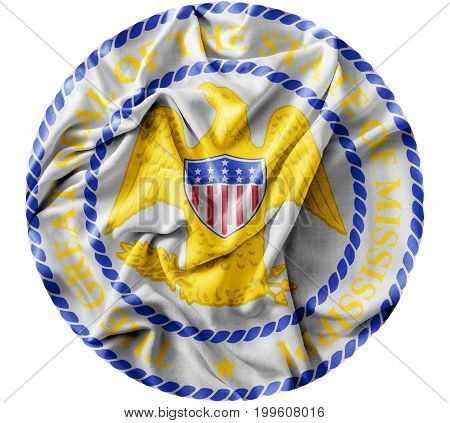 Ruffled waving United States Mississippi Seal flag