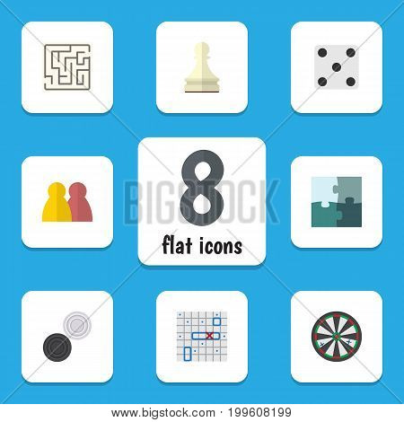 Flat Icon Entertainment Set Of Jigsaw, Sea Fight, People And Other Vector Objects