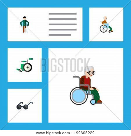 Flat Icon Disabled Set Of Handicapped Man, Spectacles, Equipment Vector Objects