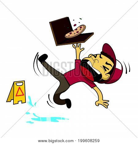 Pizza boy slipping on wet floor vector illustration