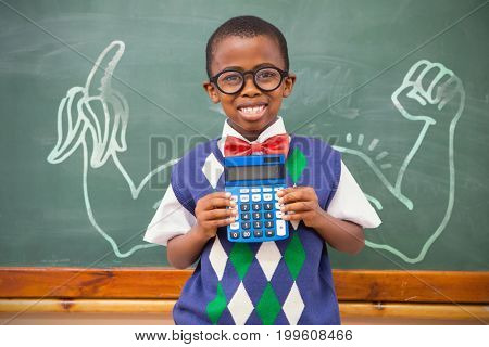 Digital image of hand holding banana against happy pupil showing calculator
