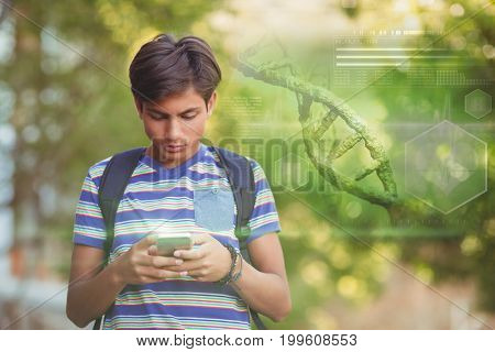 Digital image of DNA helix against schoolboy using mobile phone in campus