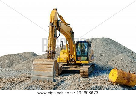 Tracked Excavator On A Construction Site Among Piles Of Rubble Isolated
