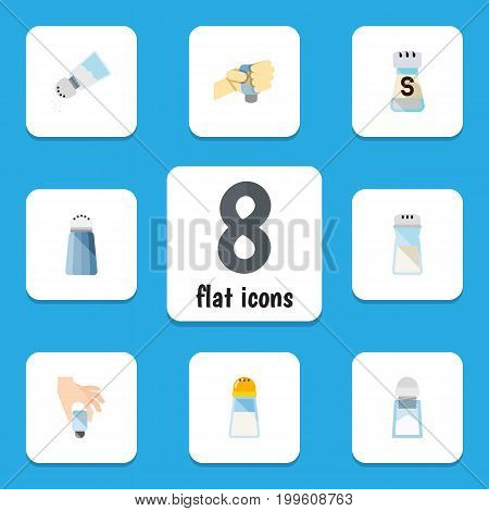 Flat Icon Salt Set Of Condiment, Shaker, Spice And Other Vector Objects