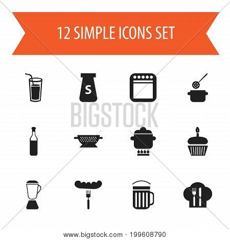 Set Of 12 Editable Cooking Icons. Includes Symbols Such As Muffin, Hot Dog, Squeezer And More
