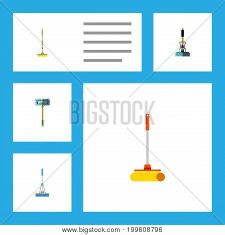 Flat Icon Cleaner Set Of Besom, Cleaning, Cleaner And Other Vector Objects