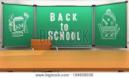 School class teacher table 3d render image