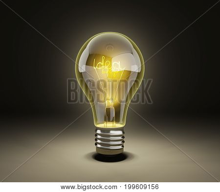 Idea Light Bulb On Darck Background 3D Render