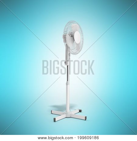 White Electric Fan 3D Render On Blue Background