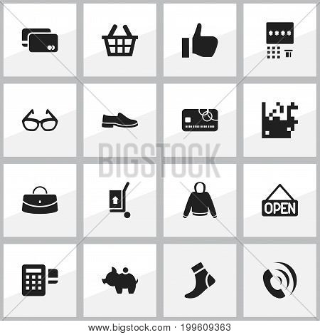 Set Of 16 Editable Trade Icons. Includes Symbols Such As Pullover, Spectacles, Automatic Teller Machine And More